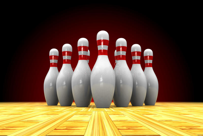 Bowling. Abstract 3d illustration of bowls over dark background stock illustration