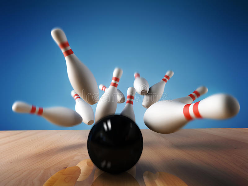 Bowling. A fun 3d render of a bowling ball crashing into the pins. Extreme perspective