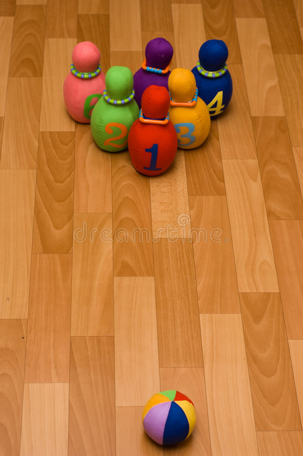 Bowling. Toy bowling with rag skittles and bowl invites little players stock image