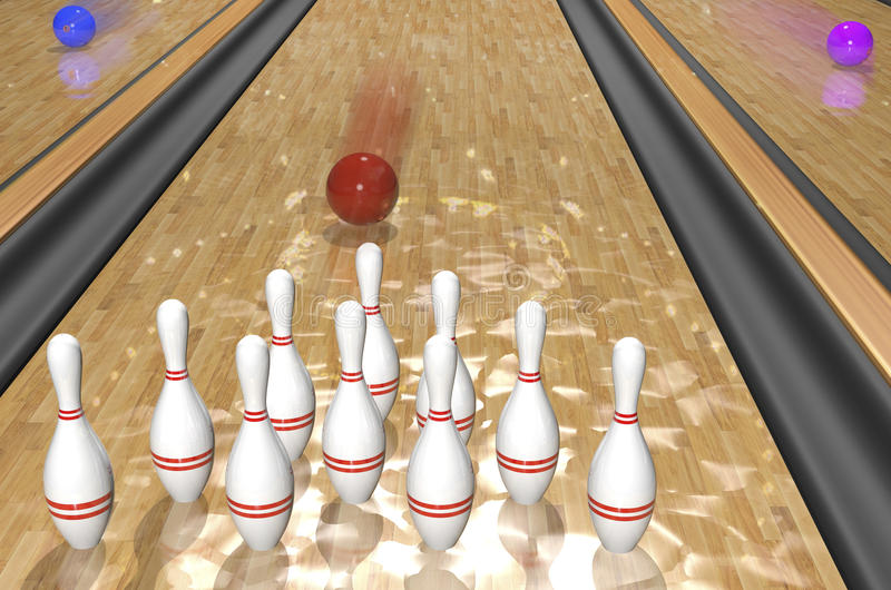 Bowling.3d Rendr Royalty Free Stock Image