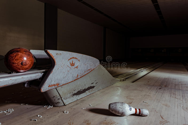 Bowling Alley - Abandoned Hospital - Brecksville Veterans Administration - Ohio stock photos
