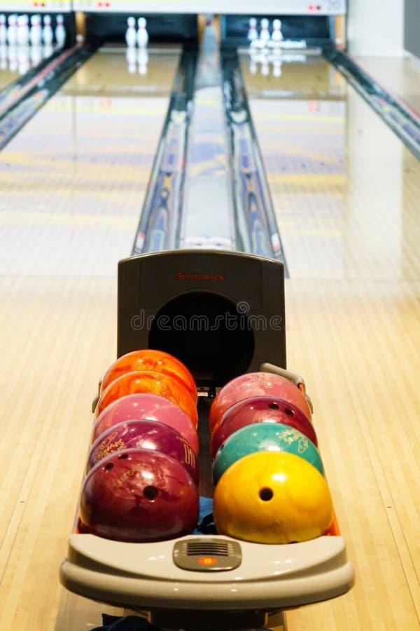 Bowling alley image. Shooting location : Tokyo metropolitan area stock image