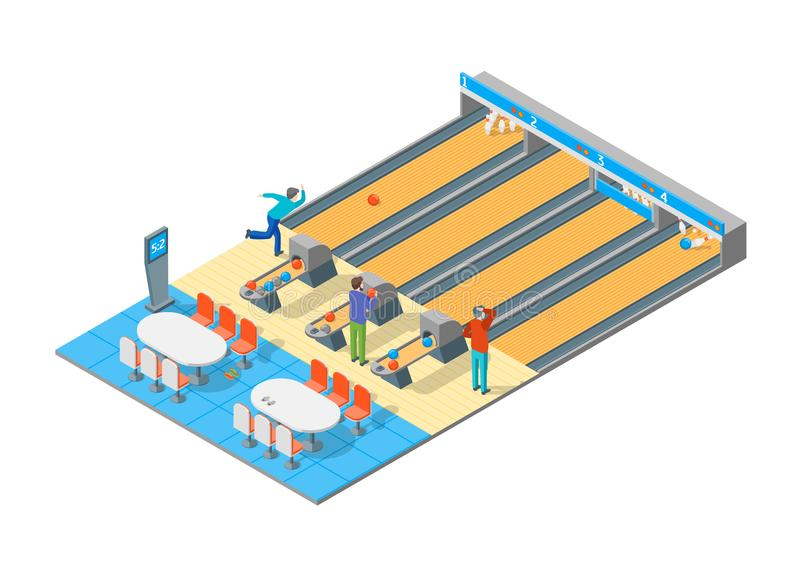 Bowling Alley Isometric View. Vector royalty free illustration
