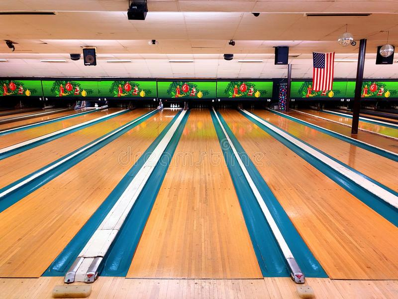 Bowling alley in united states. Bowling lanes in a bowling alley in Connecticut United States royalty free stock image