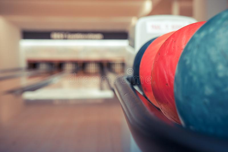 Bowling ball in action with a game of bowling. In sports center royalty free stock image