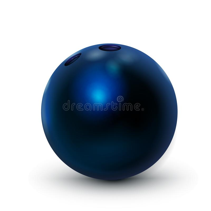 Bowling Ball, Blue 3D Realistic icon. Illustration vector for web design isolated on white background. Shiny And Clean royalty free stock images