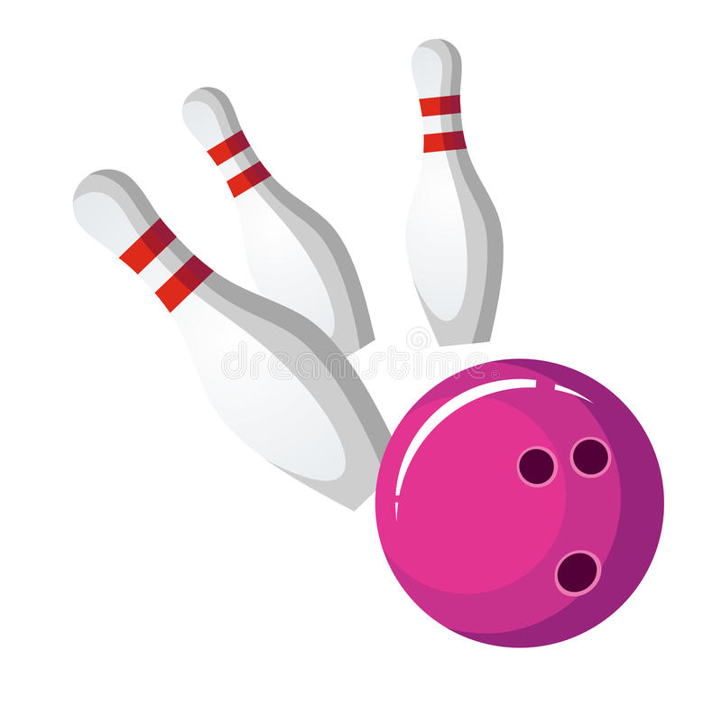 Bowling ball crash the pins stock illustration
