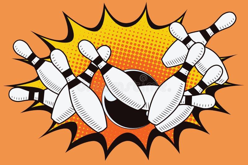 Bowling ball crashing into the pins royalty free illustration