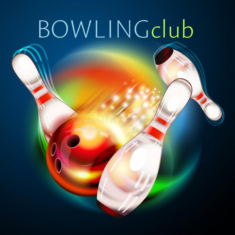 Bowling ball flying over rainbow vector illustration
