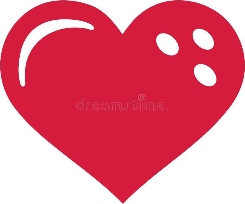 Bowling Ball Heart vector illustration