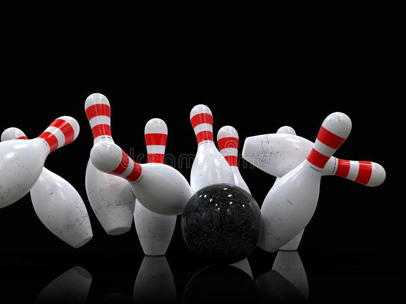 Bowling ball hitting all pins, in a Strike, black background royalty free illustration