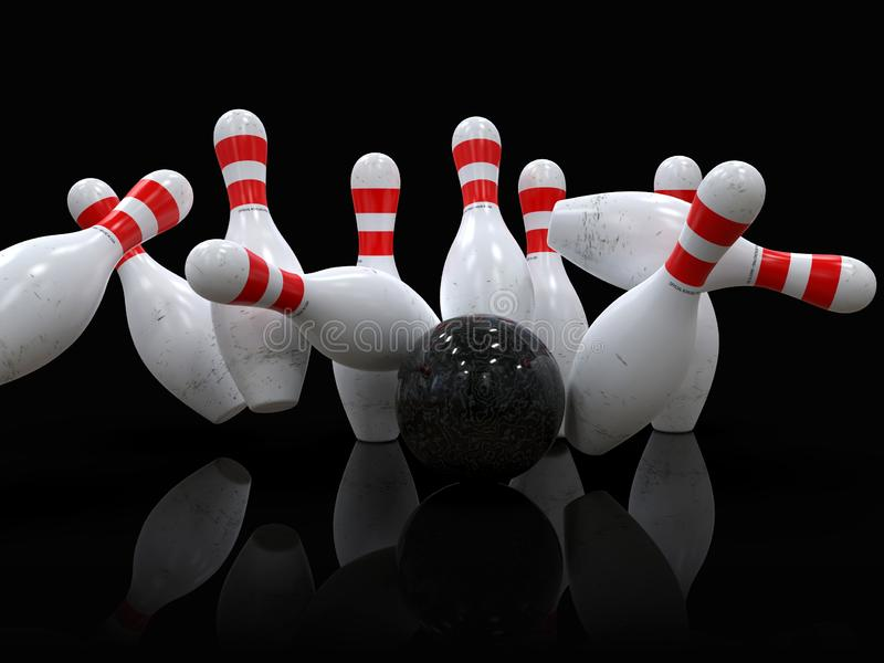 Bowling ball hitting all pins, in a Strike, black background stock illustration