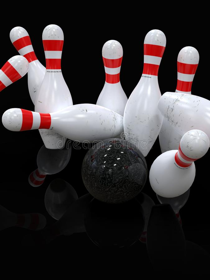 Bowling ball hitting all pins, in a Strike, dark background. Detailed action shot of bowling ball blowing all the ten pins, scoring a strike. Pins in motion stock images