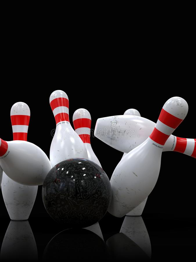 Bowling ball hitting all pins, in a Strike, dark background vector illustration