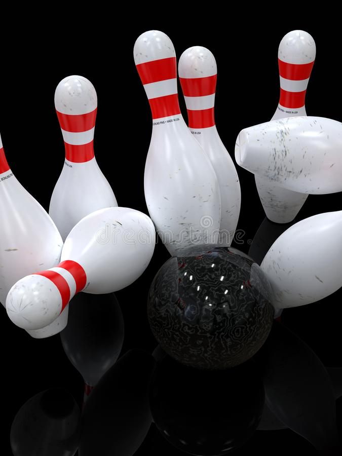 Bowling ball hitting all pins, in a Strike, dark background stock illustration