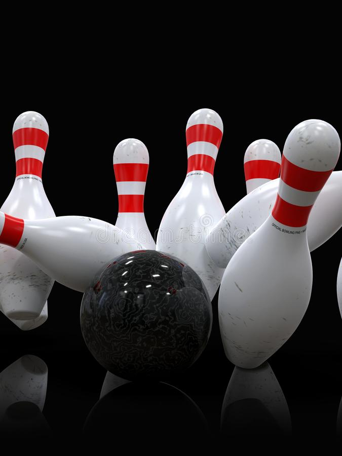 Bowling ball hitting all pins, in a Strike, dark background royalty free illustration