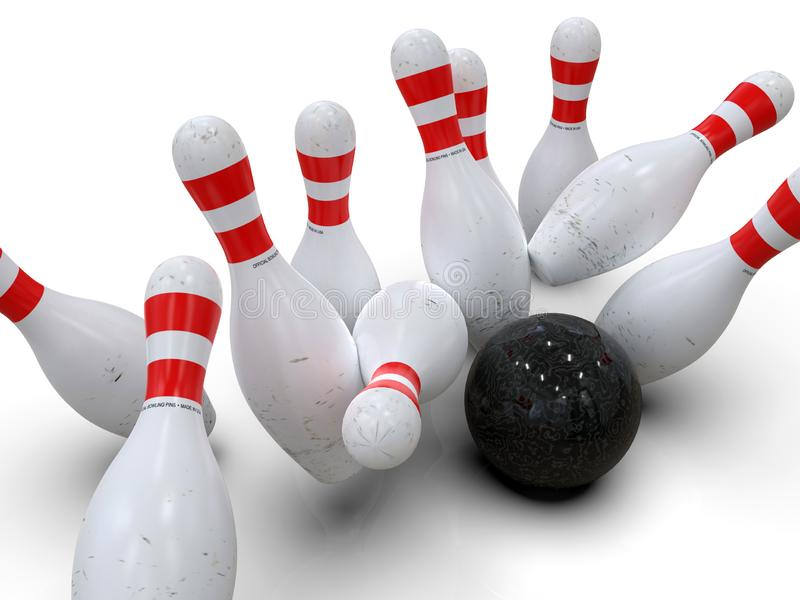 Bowling ball hitting all pins, in a Strike, white background stock illustration