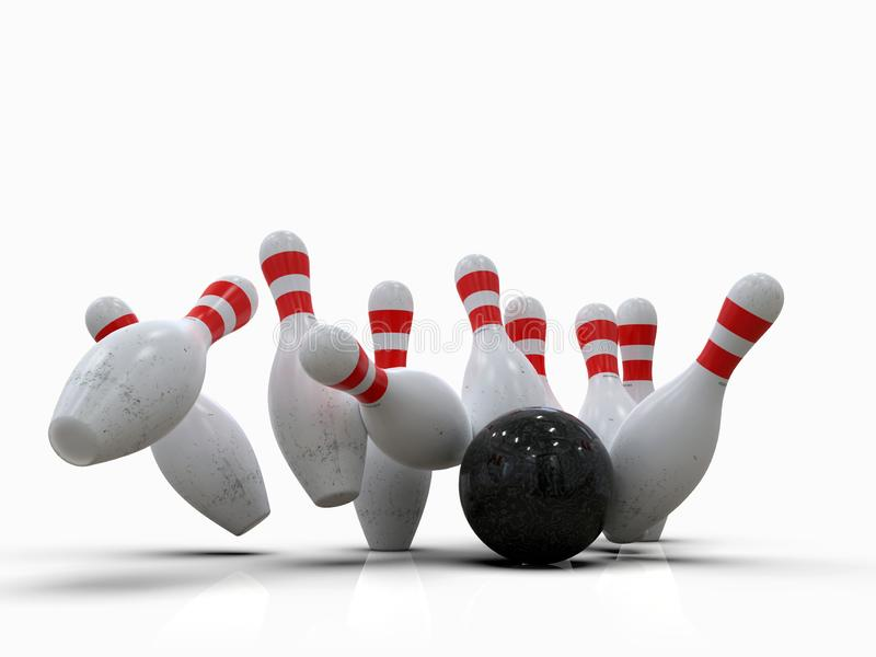 Bowling ball hitting all pins, in a Strike, white background royalty free illustration