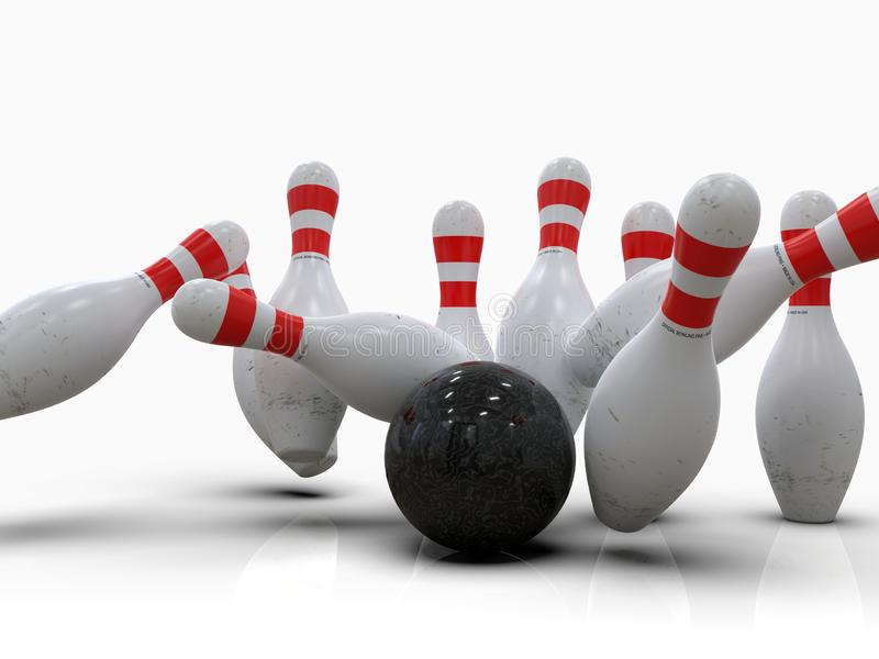 Bowling ball hitting all pins, in a Strike, white background vector illustration