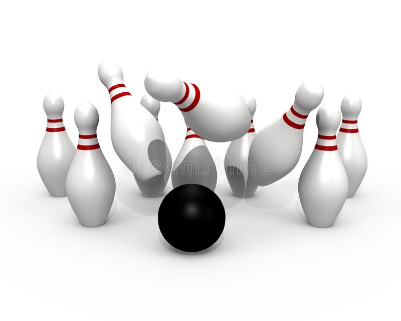 Bowling Ball Hitting The Pins 3d Image Stock