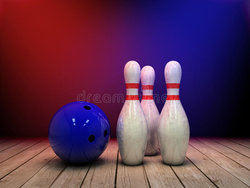 Bowling ball and pins background. 3d illustration stock illustration