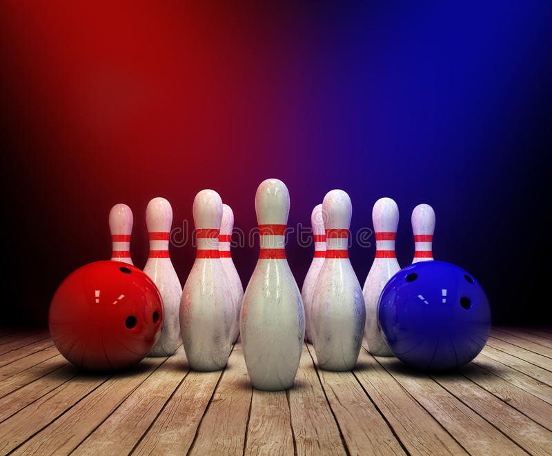 Bowling ball and pins background. 3d illustration royalty free illustration