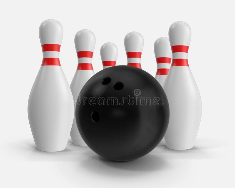 Bowling ball and pins illustration 3D isolated on white background. vector illustration