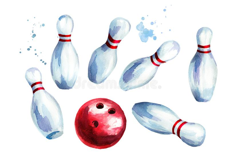 Bowling ball and pins set. Watercolor hand drawn illustration isolated on white background royalty free illustration