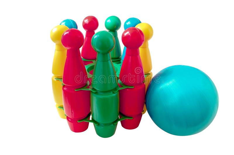 Bowling ball and pins on white background. Game for kid stock photo