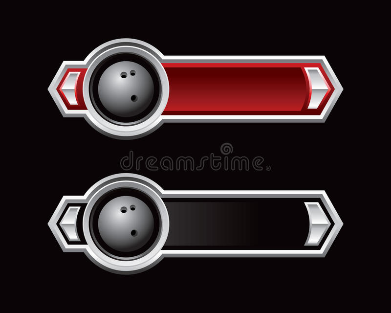 Bowling ball on red and black arrow banners