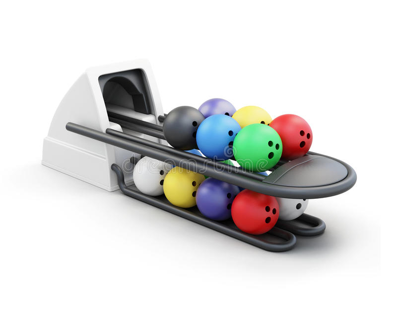 Bowling ball return system isolated on a white background. stock illustration