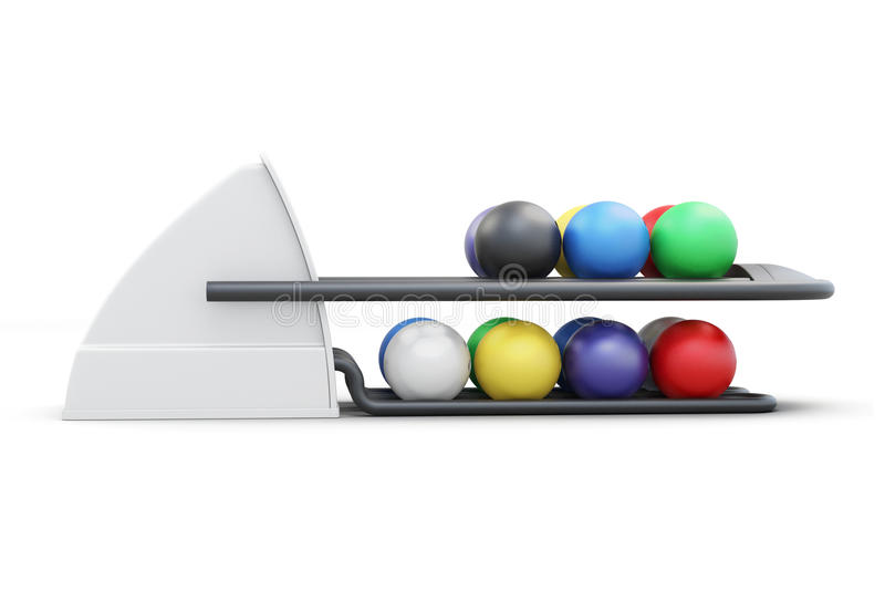 Bowling ball return system side view on a white backgro stock illustration