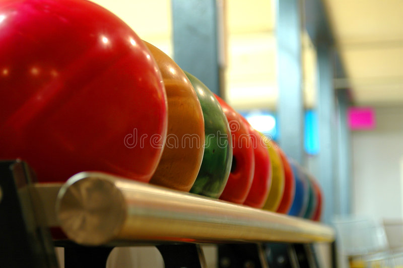 Download Bowling balls stock photo. Image of indoor, colorful, railing - 90946