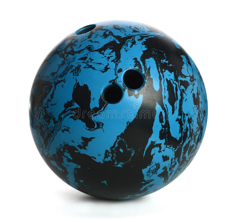 Bowling Bowl. Blue and black bowling ball isolated over white background - With Clipping Path stock images