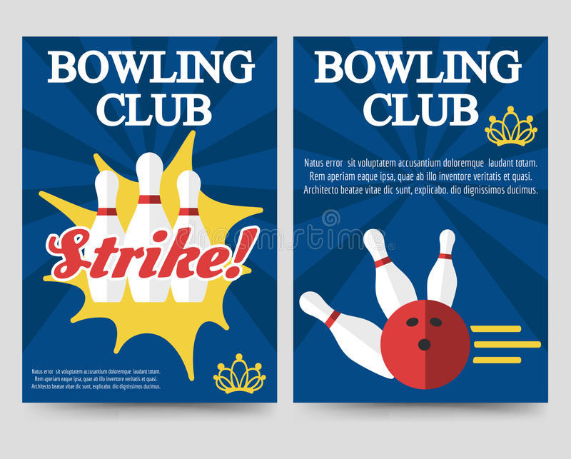 Bowling Brochure Flyer Template Set Stock Vector  Illustration Of