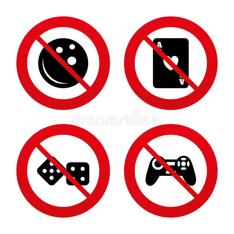 Bowling And Casino Signs Video Game Joystick Stock Vector