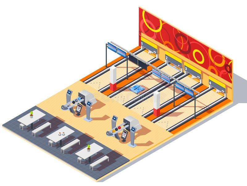Bowling Center Isometric Interior vector illustration