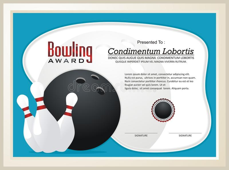 Bowling Certificate / Award template vector. With illustration bowling ball and pins, great for parties, bowling leagues and tournaments royalty free illustration