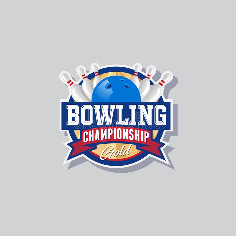 Download Bowling Championship Emblem Logo Skittles And Ball In A Circle With Ribbons