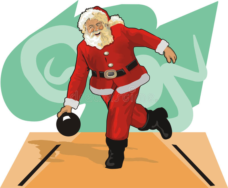 bowling claus santa royaltyfri illustrationer
