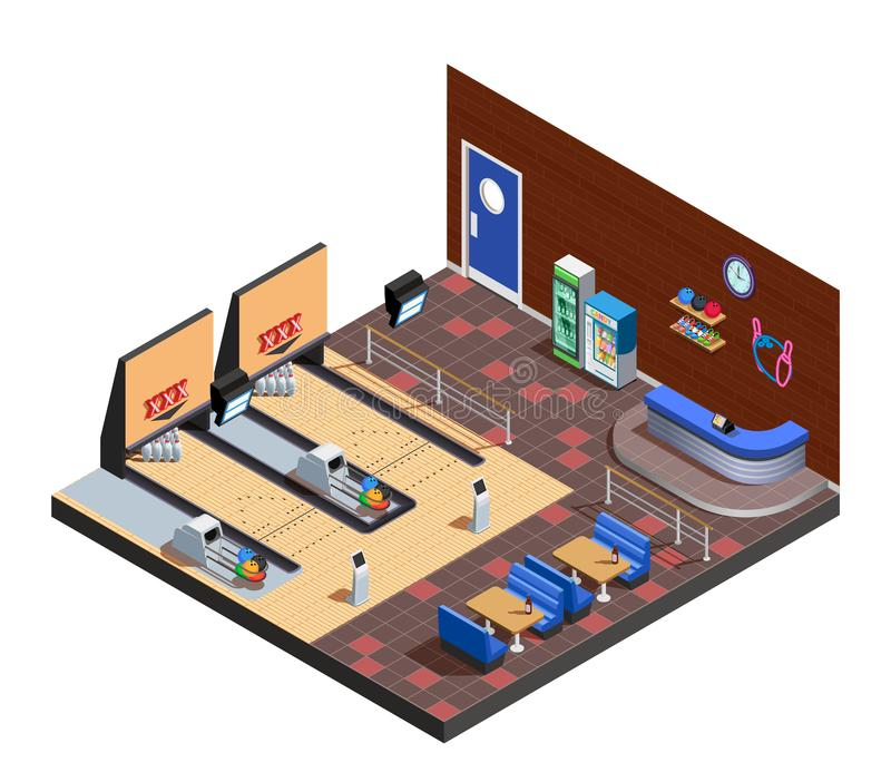 Bowling Club Interior Isometric Composition stock illustration