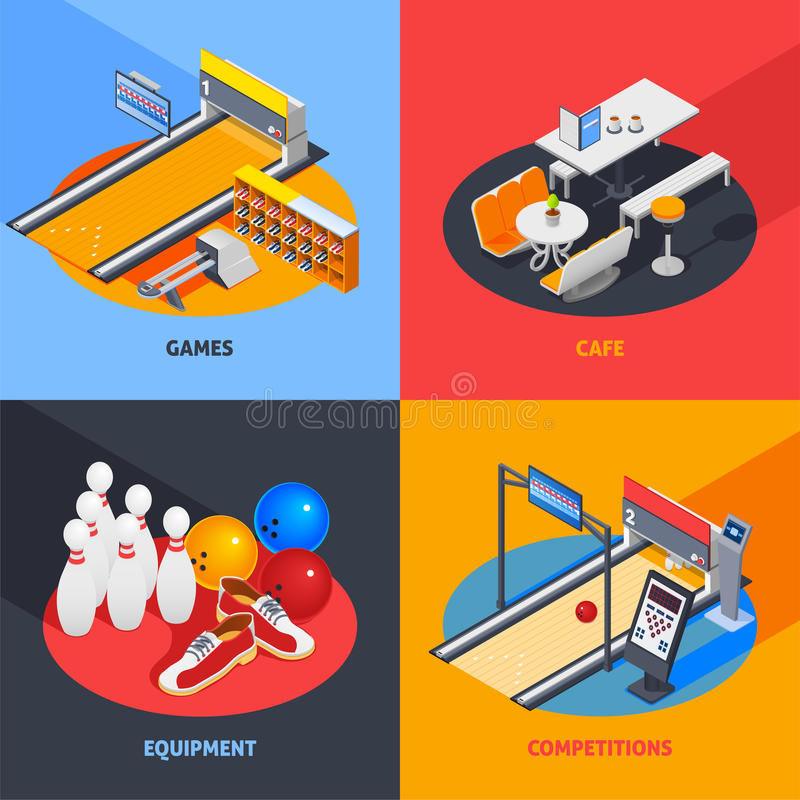 Bowling Colorful Isometric Compositions royalty free illustration