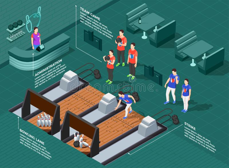 Bowling Competition Isometric Composition royalty free illustration