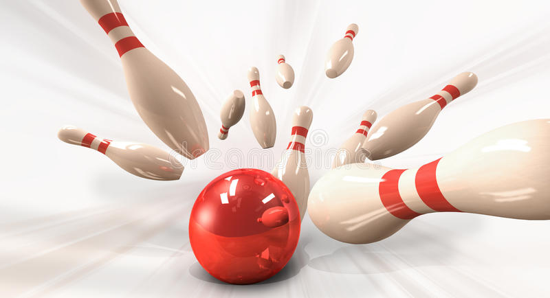 Bowling. 3d render of a bowling strike