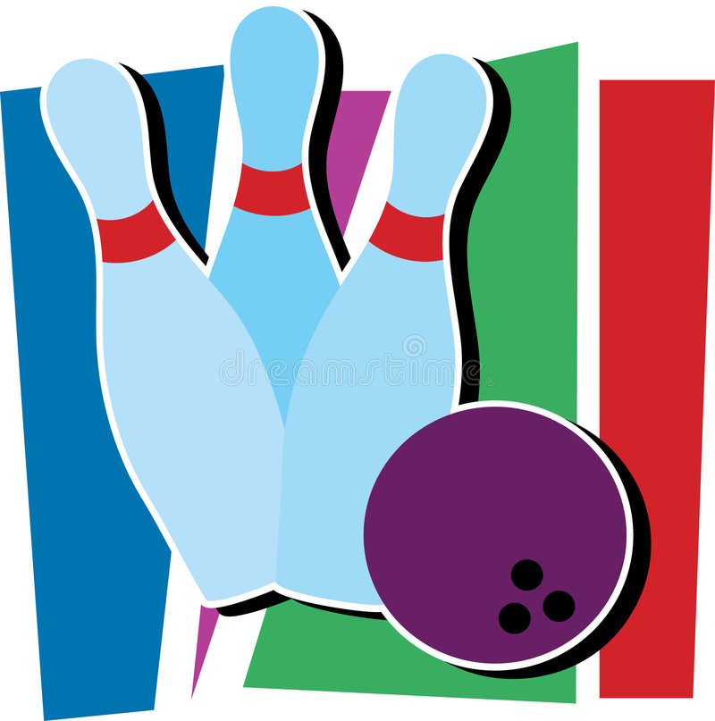 Bowling Ding. Three bowling pins and a bowling ball royalty free illustration