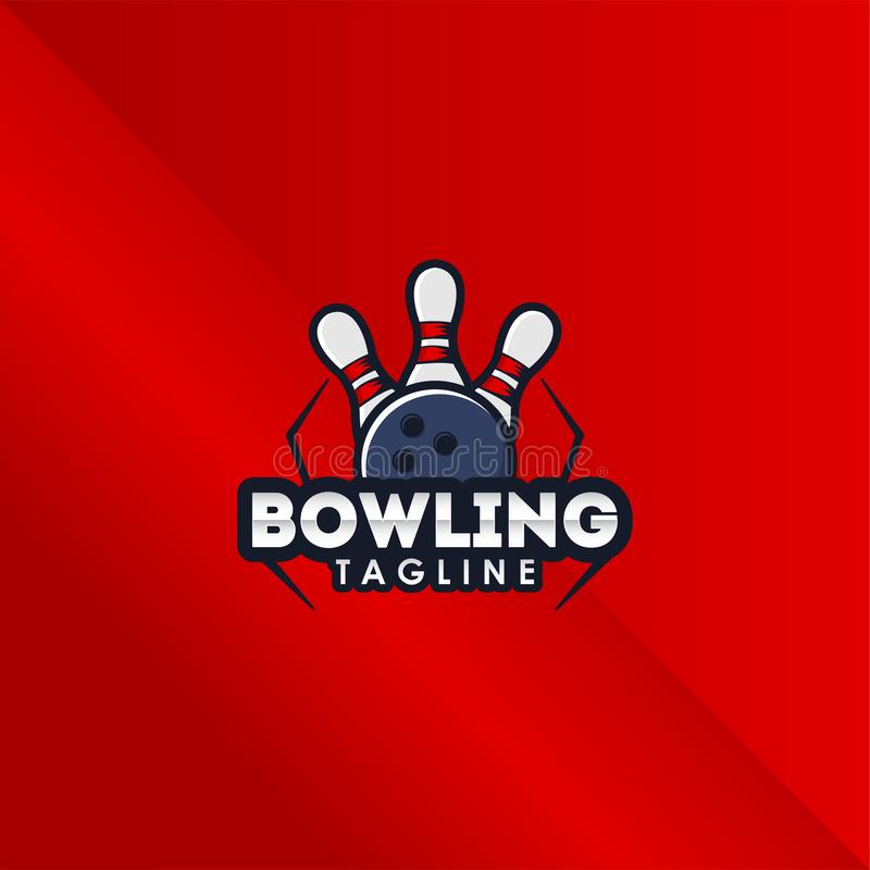 Bowling E sport Logo Vector Design Template For Team 库存例证