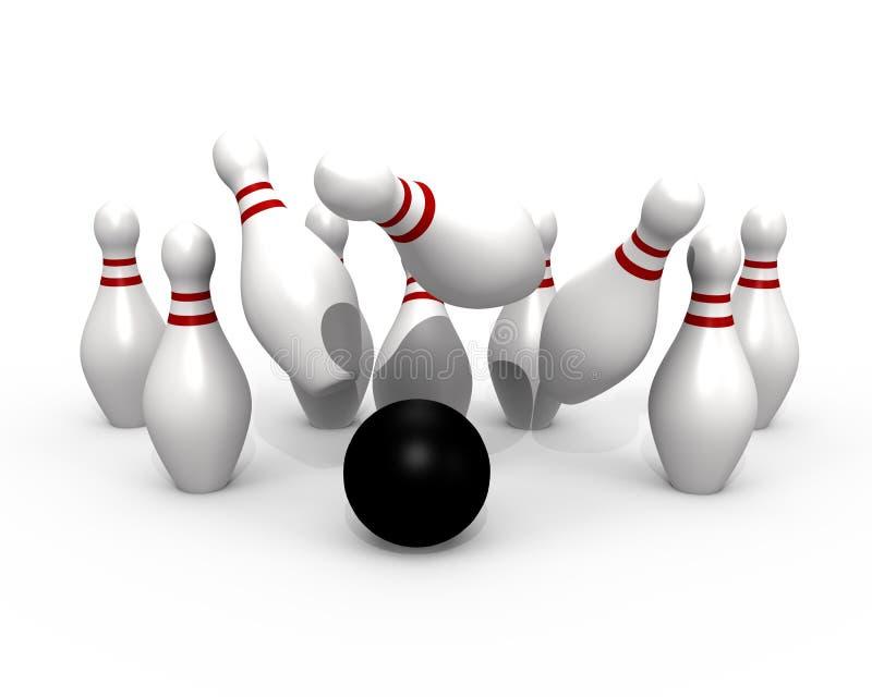 bowling för boll som 3d slår bildstift vektor illustrationer