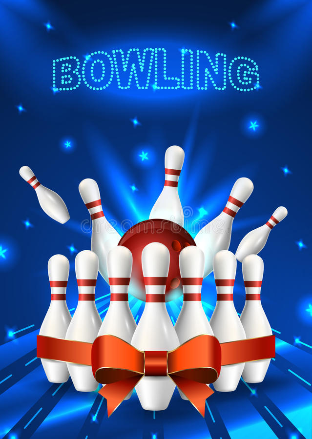 Bowling Flyer Template A Format Size Vector Clip Art Illustration