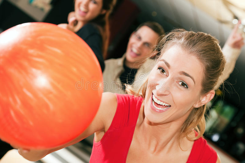 Download Bowling with friends stock image. Image of woman, adult - 12169385
