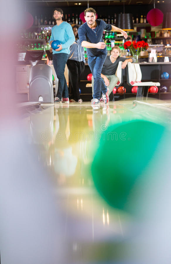 Bowling friends stock photography